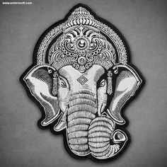 Large Patch Head of Ganesha IRON ON 8.6 x 11.8 inches by EmbroSoft on Etsy https://www.etsy.com/listing/270479577/large-patch-head-of-ganesha-iron-on-86-x