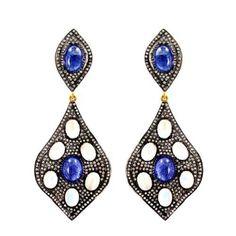14k-Gold-Diamond-Pave-Tanzanite-Moonstone-925-Sterling-Silver-Fashion-Earrings