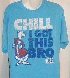 ICEE CLASSIC POLAR BEAR CHILL I GOT THIS BRO BLUE GRAPHIC T-SHIRT XL 46/48 #ICEE #GraphicTee