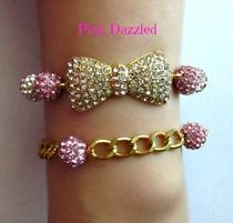 Pink & Gold Rhinestone Studded Bow and Chain Bracelet Set