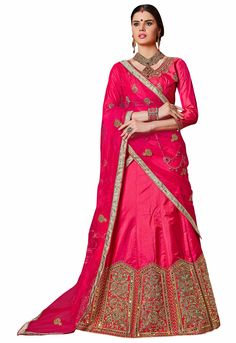 The perfect Online Silk Magenta Embroidered Semi Stitched Lehenga can do wonders to any woman's personality and bring the best out of her. Lehenga Suit, Silk Lehenga, Saree, Stylish Office Wear, Lehenga Choli Online, Lehenga Designs, Dress Sewing Patterns, Embroidered Silk, Blouse Designs