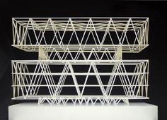 Schulanlage Leutschenbach - to be completed 2007 Abstract Geometric Art, Geometric Shapes, Structural Model, Truss Structure, Model Sketch, 3d Modelle, Arch Model, 3d Prints, Black And White Abstract