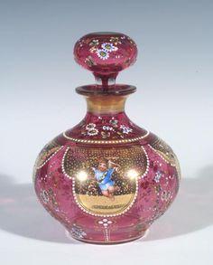 Bohemian Moser Lobmeyr Art Glass Baroque Cherub HP Enamel Decor Perfume Bottle
