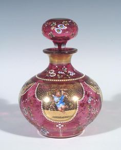 Bohemian Moser Lobmeyr Art Glass Baroque Cherub HP Enamel Decor Perfume Bottle
