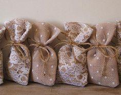 Сельский свадьба (100 шт) благосклонности мешки мешковины-кружевной тюль (3x5inch)