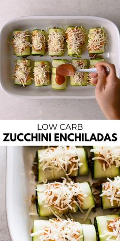 This zucchini enchiladas recipe uses thinly sliced zucchini instead of traditional tortillas! Stuffed with flavorful ground turkey, onions and bell peppers, they're low carb, gluten free and healthy for the whole family. Healthy Turkey Recipes, Healthy Ground Turkey, Healthy Low Carb Recipes, Gluten Free Recipes, Mexican Food Recipes, Keto Recipes, Cooking Recipes, Ground Beef, Easy Ground Turkey Recipes