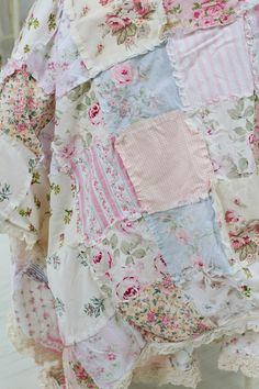 yes please. ----Shabby chic rag quilt, floral bedding, vintage rose, lace bedding, patchwork quilt