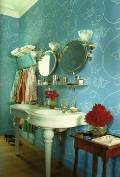vintage bathroom with a delicate feminine touches.