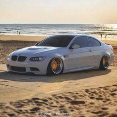 BMW E92 M3 grey deep dish slammed beach