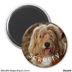 Adorable and unique dog refrigerator magnet - just upload your photo and add your pet's name in the template area provided to create a unique gift for the pet parent.