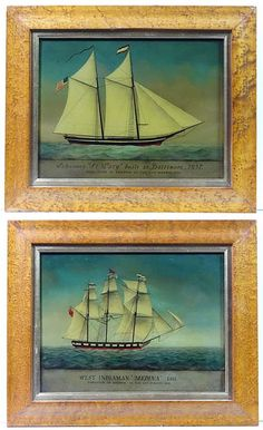 Reverse Glass Painting Of An American Ship Sea Worthy In 2019