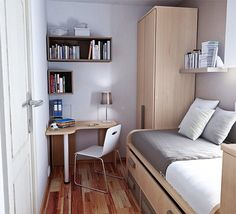 How to design a small bedroom layout ideas and inspiration for bedroom small table boys room dorm room designs small bedroom interior and bedroom layouts Very Small Bedroom, Small Bedroom Interior, Small Apartment Bedrooms, Small Space Bedroom, Apartment Bedroom Decor, Small Spaces, Small Bedrooms, Bedroom Furniture, Wardrobe Furniture