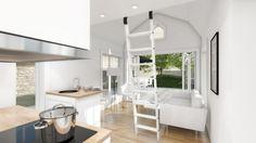 Attefallshus Linnea med mansard tak, sovloft, klassisk design, ritningar med bra planlösning,