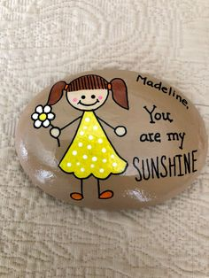 You Are My Sunshine Painted Rock, Custom Hand Painted Stone, Sunshine Painted Rocks, Affirmation Stones - Trendswoman Rock Painting Patterns, Rock Painting Ideas Easy, Rock Painting Designs, Painted Rocks Craft, Relationship Gifts, Rock Crafts, Gifts For Pet Lovers, You Are My Sunshine, Learn To Paint