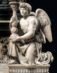 Michelangelo. Angel with Candlestick 1494-95. Marble, height: 51,5 cm. Basilica of San Domenico.  Bologna, Italy