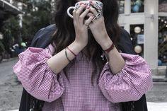 "Do you have a thing for sleeves too? ❤️❤️❤️ featuring ""MARION"" top (Vneck) cherry petit carreaux  #karavan #karavanclothing #karavangirl"