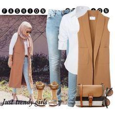 tan vest hijab style, Hijab trends mix and match… Hajib Fashion, Street Hijab Fashion, Modesty Fashion, Fashion Outfits, Casual Hijab Outfit, Hijab Chic, Islamic Fashion, Muslim Fashion, Modele Hijab