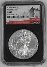2017 $1 NGC MS70 American Silver Eagle Early Releases US Mint 225th Anniversary!