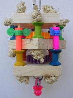 I love this layered idea with a toy in the middle to get to.  TNT Toys - Toys For Medium Birds