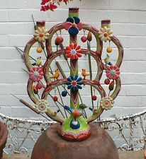 """VINTAGE 18"""" MEXICAN TREE OF LIFE FRANCISCO FLORES SIGNED MEXICO"""