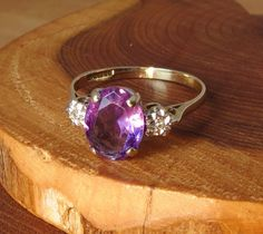 Vintage 9k yellow gold amethyst and by Timehonouredtreasure