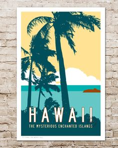 Vintage style Hawaii Travel Poster by Transit Design. Tropical Beach Decor, Palm Trees.