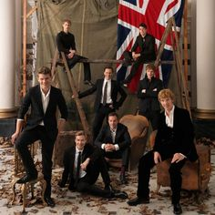Cast of War Horse -    Back row from left: Robert Emms, Toby Kebbell. Middle row: Tom Hiddleston, Matt Milne. Front row: Jeremy Irvine, David Kross, Patrick Kennedy, Benedict Cumberbatch by Kevin Lynch, Guardian, 2012