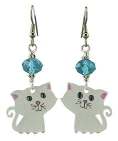 Unique Creations — White Cat Earrings