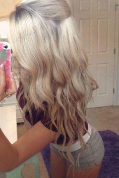 Platinum blonde hair with dark blonde ombre
