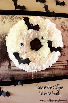 bats, Halloween, Halloween DIY, coffee filter wreath, Halloween Wreath, Halloween Decorations