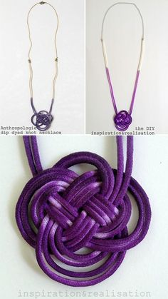 DIY Knockoff Anthropologie Dip Dyed Knot Necklace Tutorial from inspiration  realisation here.Left Top Photo: $69.95 (was $108) Anthropologie Dip Dyed Knot Necklace here, All Other Photos: DIY by inspiration  realisation.As usual Donatella has packed several tutorials into one post: Tying the 4 Head Bight Turks Head knot (excellent and clear instructions) Dying the cotton cord with fabric paint (and the cord she links to is so cheap - you could make tons of DIYs with it) Attaching the…