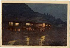 """Yoshida, Hiroshi (1876-1950) Originals, """"Evening in a Hot Spring"""""""