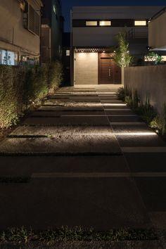 Exterior Lighting, Outdoor Lighting, Landscape Architecture, Facade, Sidewalk, Stairs, Flooring, House, Gardening