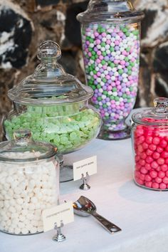 This is what I want to do for my party favors! Have Candy Jars and little bags for them to take which ever kind they would like! :)