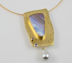 Striped Opal pin/pendant by Sydney Lynch