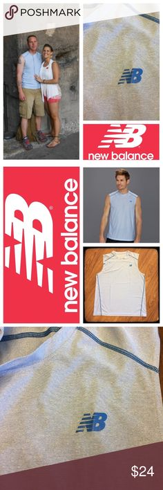 New Balance sleeveless men's athletic workout top 📦Same day shipping (as long as P.O. is open for business). ❤ Measurements are approximate. Descriptions are accurate to the best of my knowledge.  This shirt is a world traveler! My husband wore it once in Rome, Italy. The first photo is at the Colosseum. Light blue color with darker blue NB logo and seam details. NB logo is in perfect condition: no cracking. Material tag has been removed but it is synthetic moisture wick material…