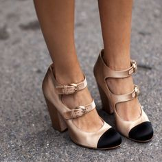 Chanel Satin Cap-Toe Pumps | From stockholm-streetstyle.com via Fancy