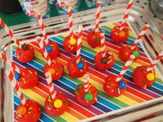 Cake pops at an M&M Party #m&mparty #cakepops