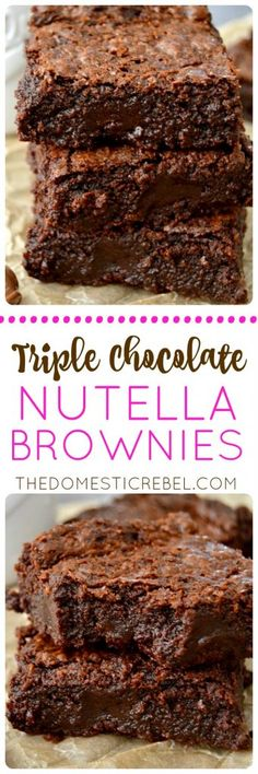 These Triple Chocolate Nutella Brownies are SO EASY! They come together in minutes, are only one-bowl, and produce an ultra moist, super fudgy, incredibly rich and fudgy brownie bursting with three kinds of chocolate!