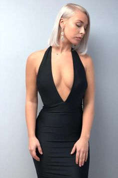 57dce7f092 Mermaid Halter Backless Sweep Train Black Prom Dresses with Deep V Neck  PW630