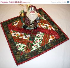 ON SALE Christmas Table Topper   Candle Mat  by QuiltingFrenzy, $25.50