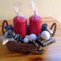 winter candle basket