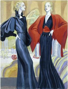 Robert Piguet et Jeanne Lanvin Carlos Senz de Tejada. 1930s Fashion, Art Deco Fashion, Fashion Prints, Vintage Fashion, Fashion Design, Fashion 2016, Fashion Photo, Fashion Tips, Jeanne Lanvin