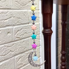 Your favourite came back to my shop: Moon Charm with Star Chain, Decor For Car Rear View Mirror, Moon Dangle, Rainbow Colours Hanger for Car Interior: Rear View Mirror Accessories, Car Interior Accessories, Mirror Ornaments, Car Ornaments, Car Mirror Decorations, Mirror Hangers, Moon Decor, Cool Mirrors, Car Rear View Mirror