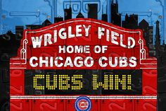 Wrigley Field Sign - Chicago Cubs Recycled License Plate Art
