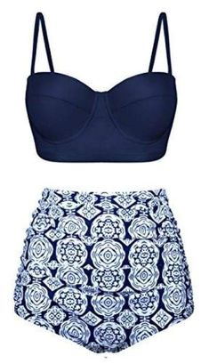 Women's Clothing, Swimsuits & Cover Ups, Bikinis, Sets,Women Retro Vintage Swimsuits High Waisted Bikini Summer Bathing Suits - Navy - Vintage Bikini, Vintage Swimsuits, Cute Swimsuits, Cute Bikinis, Two Piece Swimsuits, Women Swimsuits, Fashion Swimsuits, Swimwear Uk, Classy Outfits