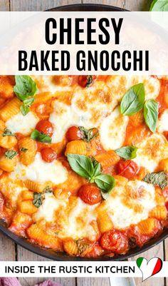 Baked Gnocchi, Gnocchi Recipes, Italian Gnocchi, Italian Soup Recipes, Making Gnocchi, Homemade Pasta, Tomato Sauce, Food Dishes, Mozzarella