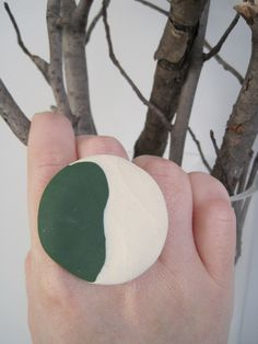 Green and White Pebble sculpted clay ring on by sweetstellas, $25.00