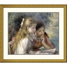 "Global Gallery 'La Lecture' by Pierre-Auguste Renoir Framed Painting Print Size: 34.87"" H x 40"" W x 1.5"" D"