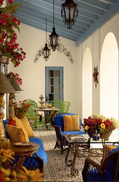 Luxury Outdoor Spaces-Love the Blue touches⭐️